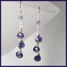 Precious Genuine Blue Iolite Silver Chain Dangle Drop Handmade Earrings NEW