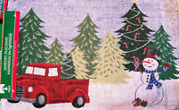 Set of Four Tapestry Placemats Red Truck Christmas Scene With Bonus