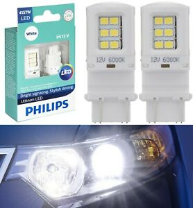 Philips Ultinon LED Light 4157 White 6000K Two Bulbs Front Turn Signal Stock Fit