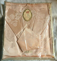 VINTAGE Irish Salmon Pink Rayon Damask Tablecloth & 4 Napkins Set NEW UNUSED