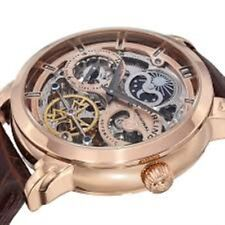 Stuhrling Automatic Skeleton Dual Time AM/PM Indicator Brown Leather Mens Watch