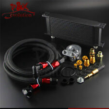 16 Row Thermostat Adaptor Engine Racing Oil Cooler Kit For Car/Truck Black