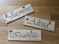 Personalised decorative wooden wedding name place cards - wedding; anniversary;