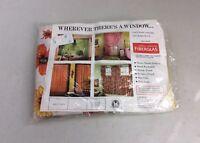 OWENS/CORNING Vintage Fiberglass Flower Curtain Draperies Ruffle Tier NEW