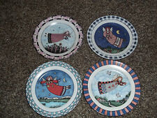 """Mary Engelbreit set of 4 8"""" lady angel plates excellent condition"""