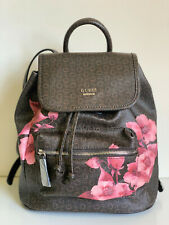 NEW! GUESS ASHVILLE COLLECTION NATURAL BROWN FLORAL TRAVEL BACKPACK BAG PURSE