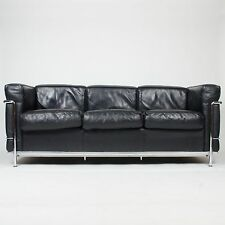 Le Corbusier Cassina Authentic LC2 Leather Petite Model 3 Seat Sofa Knoll Eames