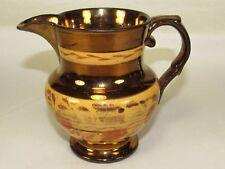 "4"" Pottery Copper Luster Pitcher,Painted Floral Band,Antique Vintage Primitive"
