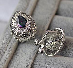 18K White Gold Filled - MYSTICAL Rainbow Oval Topaz Hollow Vine Ladies Earrings