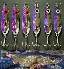 """(6) Purple Flash Trolling Flutter Spoons Lake Erie Walleye Candy 2 1/4"""" - 2 3/8"""""""