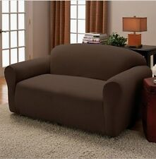2-PC Brown Stretch Couch Sofa + Loveseat Slip Cover New