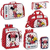 Disney Minnie Mouse Polka Backpack Rucksack Travel Messenger School Lunch Bag