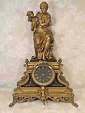 Antique Japy Freres Gold and Black French Clock Woman w/ Cupid Topper