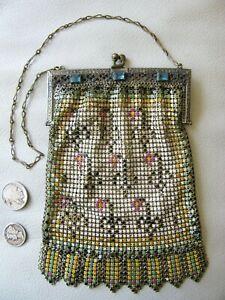 Antique Gold Filigree Blue Jewel Frame Black Yellow Pink Enamel Chain Mail Purse