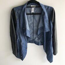 Ladies Soft Surroundings denim faux leather sleeve asymmetrical jacket medium
