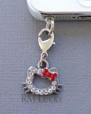 Crystal Hello Kitty cell phone Charm Anti Dust proof Plug ear cap iPhone C114