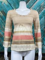 Anthropologie Moth Women's Knit Top Medium Sheer Delicate Metallic Silk Striped