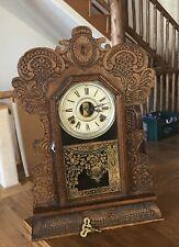 Antique E Ingraham Co Bristal Conn. Wood Mantle Clock