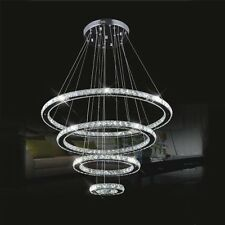 Modern Lighting LED Pendant Light with 4 Crystal  Rings Ceiling Lamp Chandeliers