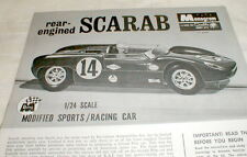 "1965 Scarab by Monogram Slot Car Assembly Flyer ""Only"" for SR2409 1/24th  No Car"