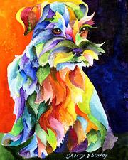 SCHNAUZER TOO 8X10 DOG   print by Artist Sherry Shipley