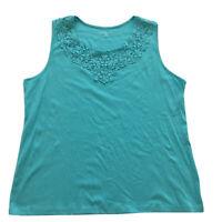 Croft & Barrow Crochet Lace Trim Cotton Tank Aqua Blue Women's Plus Size 2X NWT