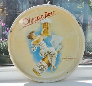 """Vintage """"Olympia Beer"""" Metal Advertising Tray: Capital Brewing Company 13"""" Dia."""