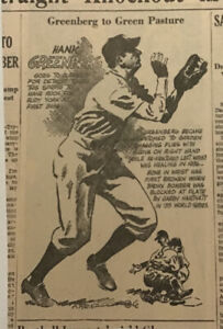 1940 newspaper panel - Greenberg to Greener Pastures, Hank Greenberg Detroit