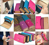 New Candy Color Handy Women PU Leather Purse Lady Long Handbag Wallet Phone Case