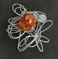 Large Silvertone Wire Work orange beaded Abstract BROOCH pin