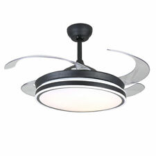 """New Listing42"""" Modern Invisible Ceiling Fans with 3-Color Led Light Fan Chandelier+Remote"""