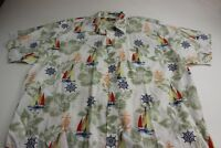 MINT Natural Issue yachting Floral Button Up Shirt 2XL XXL Sailboat Nautical 2XL
