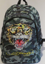 Ed Hardy Bruce Signature Tiger Emblame Camouflage Backpack by Christian Audigier