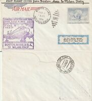 US 1950 TWA FAM 27 FIRST FLIGHT FLOWN COVER BOSTON MASS TO MILAN ITALY