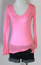 AEROPOSTALE Neon Pink V Neck Burnout Long Sleeve Fitted Knit Shirt Blouse Top S