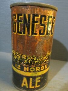 GENESEE 12 HORSE ALE FLAT TOP BEER CAN     -[EMPTY CANS, READ DESC.]-