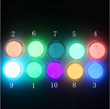 10 Colors Set Acrylic FLUORESCENT Powder Glow In the Dark Collection 3D Nail Art