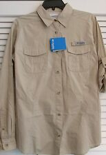 "LADIES COLUMBIA ""BONEHEAD"" L/S FISHING SHIRT TAN  (XL)  (20)"