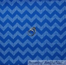 BonEful FABRIC FQ Cotton Quilt Blue White STRIPE Chevron Calico Boy Baby Nursery