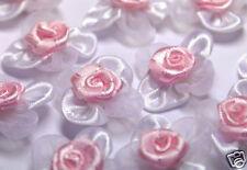Pink/White Organza/Satin Flower w/ Rose Appliques x 50-Bridal Trim