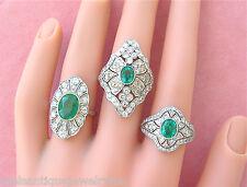 Emerald Platinum Right-Hand Cocktail Ring Art Deco 1.2ctw Diamond .80ct Oval