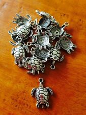 Antique Silver Turtle Charms / Pendants x 15