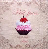 4 Servietten Vintage Shabby Paris * Petit fours * Cupcake Kuchen Muffin