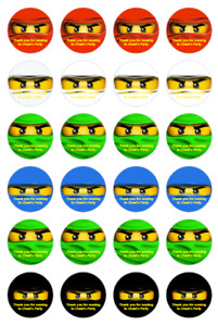 Personalised Ninjago Eyes Round Stickers labels Party bag Thank You 4cm
