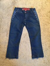 ECKO RED STRETCH STUDDED CAPRI/CROPPED JEANS...SIZE 7