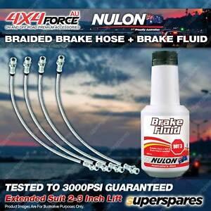 "4 F+R Braided Brake Hoses + Nulon Fluid for Toyota Hilux KUN26 VSC 2""-3"" Lift"