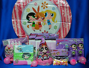 PowerPuff Girls Party Set # 12  Hats Napkins Tablecover Invite Balloon Blowouts