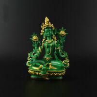 13.5CM Tibet Tibetan Buddhism Resin Green Tara Kwan-yin Goddess Statue (绿度母)