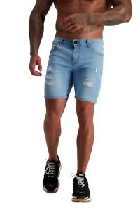 ADONIS.GEAR-AG08, JEANS, MUSCLE FIT, SKINNY, STRETCH, DENIM, SHORTS, RIPPED BLUE