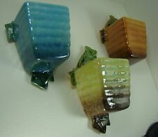 Roseville Art Pottery Mid-Century Wincraft Glossy 3 color SET 266 Wall Pockets